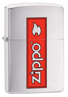 Зажигалка ZIPPO 200 Zippo Logo с покрытием Brushed Chrome, латунь/сталь, серебристая, 36x12x56 мм