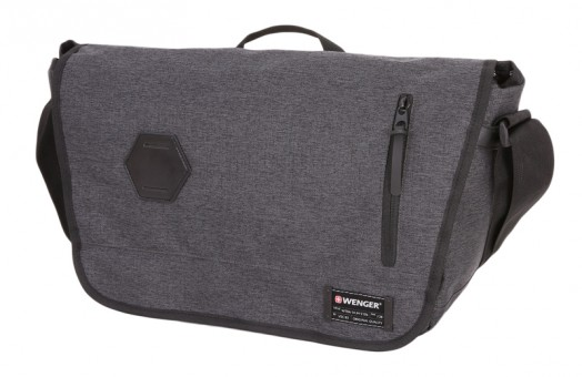 Сумка наплечная Wenger 13', cерая, ткань Grey Heather/ полиэстер 600D PU , 42х13х26 см, 14 л