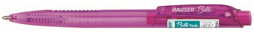 Шариковая ручка Hauser Billi Trendz, корпус - полупрозрачный пластик под цвет чернил, элементы дизайна - пластик под цвет чернил, цвет чернил - РОЗОВЫЙ, толщина стержня - 1,0мм арт H6056T-pink