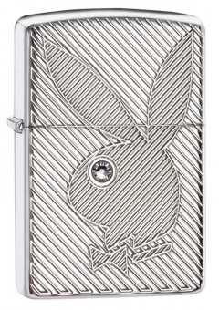 Зажигалка Zippo Playboy с покрытием High Polish Chrome, латунь/сталь, серебристая, 36x12x56 мм