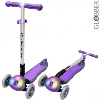 448-103 Самокат GLOBBER ELITE F My Free Fold up со светящейся платформой PURPLE